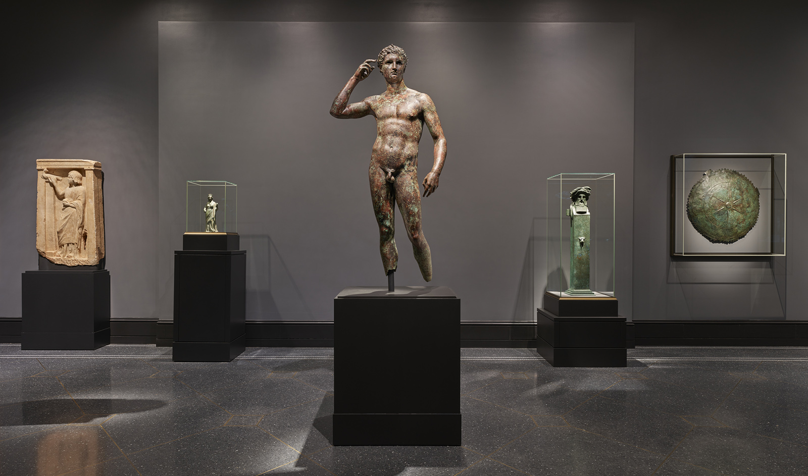 Installation view of Statue of a Victorious Youth at the Getty Villa, Spring 2018.