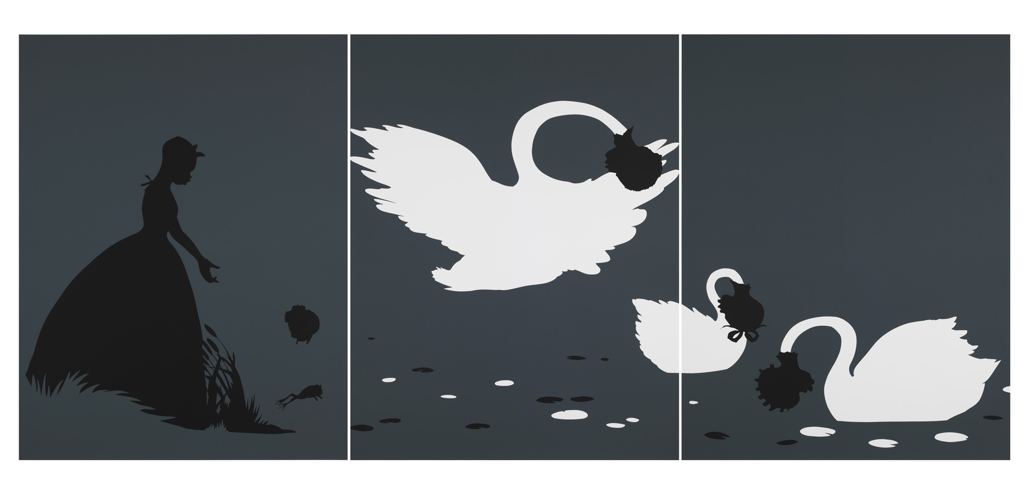Kara Walker, The Emancipation Approximation, 1999–2000, 3 of 27 screen prints on Somerest 500G paper, Ed. AP 5/5, Tang Teaching Museum collection, gift of Michael Jenkins and Javier Romero, 2015.23.1.1–28